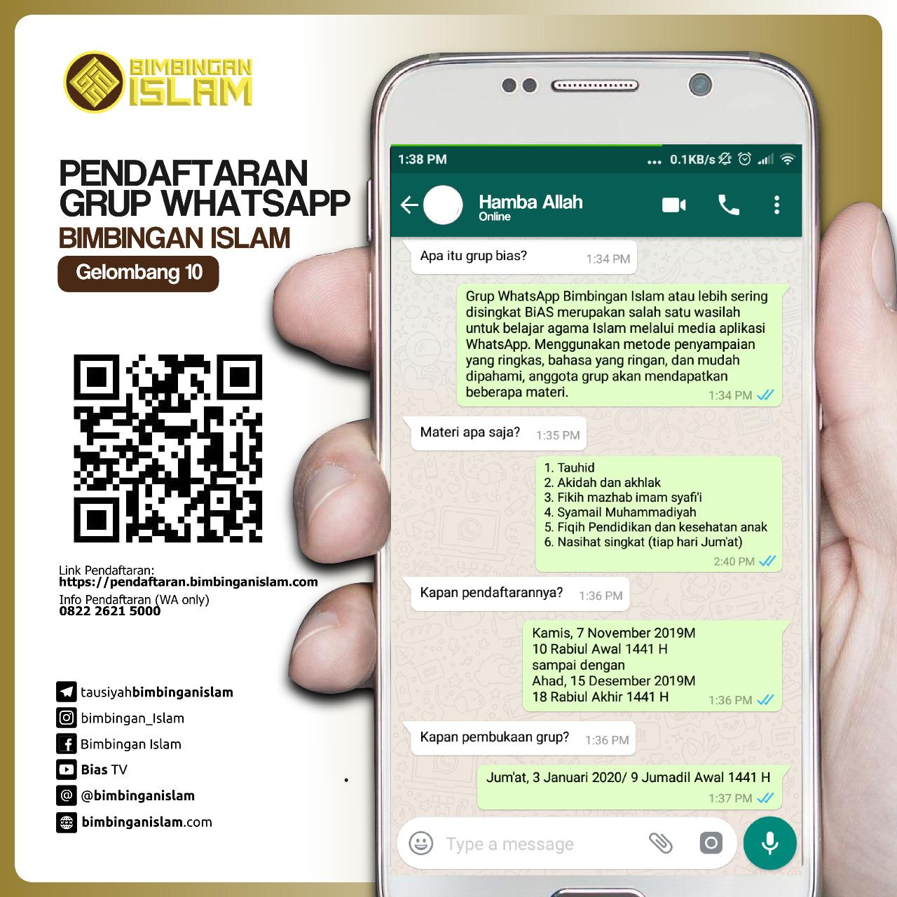 PENDAFTARAN Grup WhatsApp BIMBINGAN ISLAM Gelombang 10